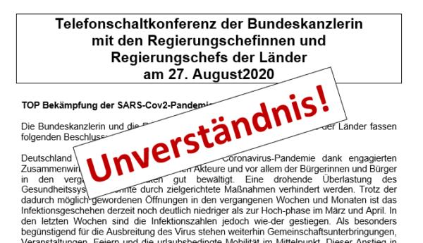 Stellungnahme zu dem Beschluss der Bundeskanzlerin vom 28.10.20
